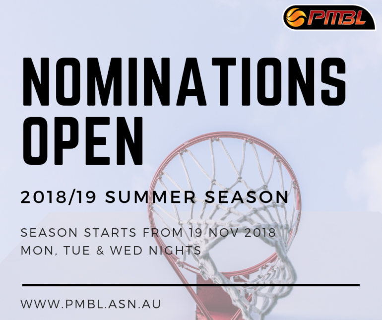 2018/19 SUMMER TEAM NOMINATIONS OPEN NOW
